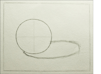 Using a planar approach to draw the cast shadow of the sphere.