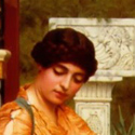 Detail of painting by John William Godward