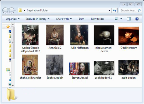 Example of an inspiration folder to generate drawing ideas