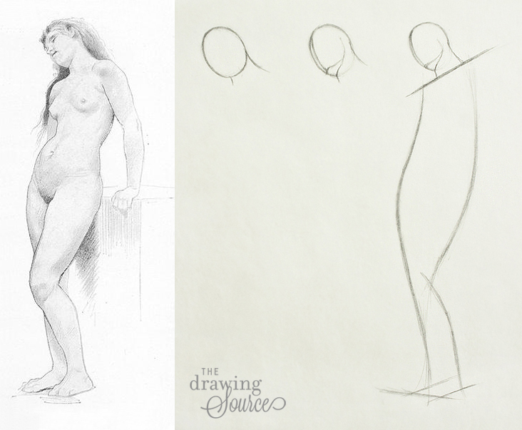 Drawing figures beginning with the head and neck