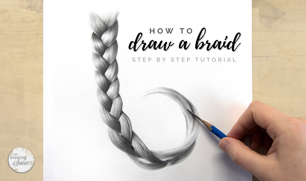 Learn how to draw a braid realistically using graphite pencils in this step by step drawing tutorial from The Drawing Source