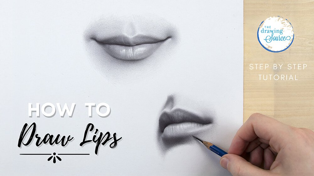 A hand drawing realistic lips with text: learn how to draw lips step by step tutorial